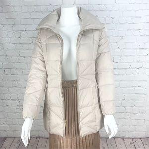 COLE HAAN Sateen Puffer Down Zip Up Jacket Tan XS